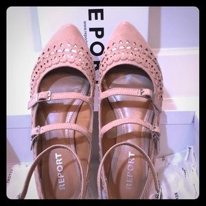Report Three strap ankle strap zip pink gold 8